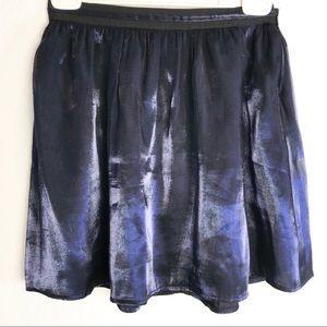FOREVER 21 Dark Blue Shimmering Flared Mini Skirt